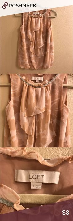 Ann taylor LOFT pink ruffle blouse No flaws. Worn a couple of times. Ann Taylor Tops Blouses