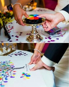 Painted Finger Prints Guest Book