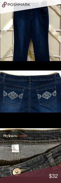 """Style and Co Medium Blue Curvy Modern Boot 12 GUC.  Style and Co Blue Jeans with Modern Boot Cut are Curvy. Great Embroidery and Silver Rhinestones.   Side seam to side seam is 20"""" Rise is 10.25"""" Length is 40.5""""  Poshmark Ambassador and Fast Shipper  Prices firm unless bundled with two or more items Style & Co Jeans Boot Cut"""