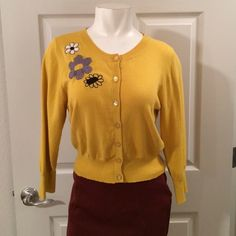 Ivy Jane cardigan Mustard yellow cardigan. 3/4 sleeves. Embroidery on front and back. This has only been worn 3 or 4 times. Incredibly comfortable. It is a size xl but I normally wear a medium and this fits very well Ivy Jane Sweaters Cardigans