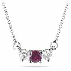 1/4 Cts Diamond and 0.41 Cts of 4 mm Ruby Pendant in 18K White Gold