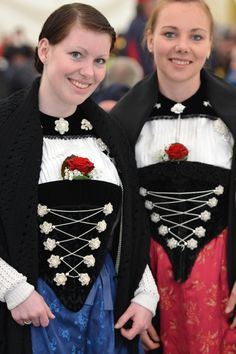 Swiss girls in traditional clothing during the yearly Schwingfest festival.