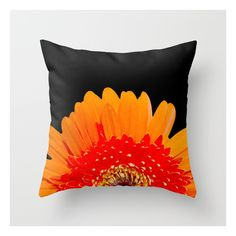 Orange Greeting Throw Pillow ($20) ❤ liked on Polyvore featuring home, home decor, throw pillows, pillows, patterned throw pillows, orange toss pillows, orange accent pillows, orange home decor and orange throw pillows