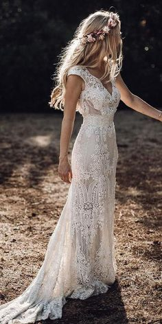 24 Lace Boho Wedding Dresses To Inspire You ? lace boho dresses with cap sleeves full lace vintage elbbraut ? : 24 Lace Boho Wedding Dresses To Inspire You ? lace boho dresses with cap sleeves full lace vintage elbbraut ? Wedding Dress Trends, Bohemian Wedding Dresses, Dream Wedding Dresses, Bridal Dresses, Bohemian Theme, Maxi Dresses, Wedding Outfits, Bohemian Hair, Hippie Boho