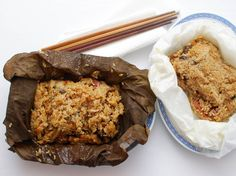 Chinese Sticky Rice Wrapped in Lotus Leaf (Lo Mai Gai) ~ via  www.seriouseats.com/recipes/2015/03/sticky-rice-wrapped-lotus-leaf-lo-mai-gai-recipe.html