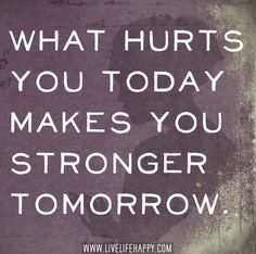 What hurts you today makes you stronger tomorrow. by deeplifequotes, via Flickr