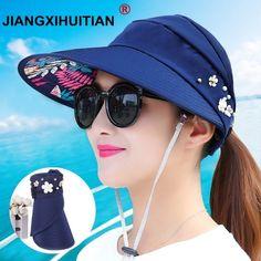 1ec89e36 2018 New simple women summer beach Sun Hats pearl packable sun visor hat  with big heads wide brim UV protection female cap