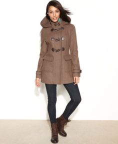 $104, Hooded Wool Blend Toggle Front Duffle Coat by Laundry by Design. Sold by Macy's. Click for more info: http://lookastic.com/women/shop_items/54427/redirect