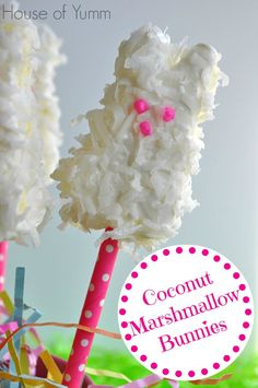 Marshmallow Peep Bunnies coated in white chocolate and coconut for a fun Easter treat for all ages!