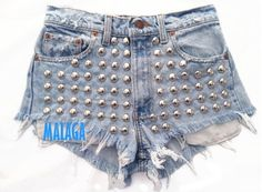 Discover this look wearing Light Blue Omen Eye Shorts tagged jeans, shorts - Stellar Short studded cut off shorts by azuppas Studded Shorts, Studded Denim, Studded Dress, Hot Pants, High Waisted Shorts, Denim Shorts, Waisted Denim, Ripped Shorts, Only Shorts
