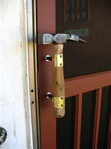 old hammer becomes a door handle