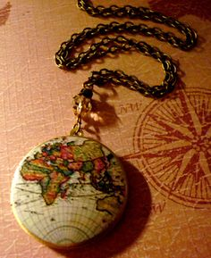 Art Locket NecklaceVintage Old World Map by SteereFarmDesigns.  Very cute locket!  Really liked some of the other lockets, too.