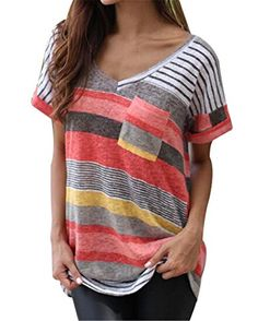 dc1fbff397446 Plus Size Women Summer Loose Blouse Shirts V-neck Striped Boho Shirts Short Sleeve  Tops Patch Pockets Blusas Gray Red Blue