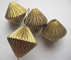 4 Large Vintage Bicone Brass Corrugated Beads   by StarPower99, $8.20