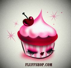A little sleepy cupcake. Art by Miss Fluff/ Claudette Barjoud #cupcakes #pinup #kawaii