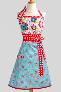 Cute Kitsch Apron - Red and Turquoise Blue Floral and Paisley