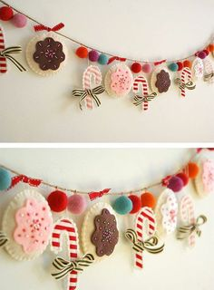 FELT & FLEECE FUN (GARLANDS/BUNTING) - Create this DIY Christmas garland. This Christmas sewing craft will be a wonderful handmade Christmas decoration. No directions but pretty straight forward for someone creative to replicate. Diy Christmas Garland, Handmade Christmas Decorations, Felt Decorations, Felt Christmas Ornaments, Holiday Decorating, Decorating Ideas, Diy Ornaments, Christmas Projects, Felt Crafts