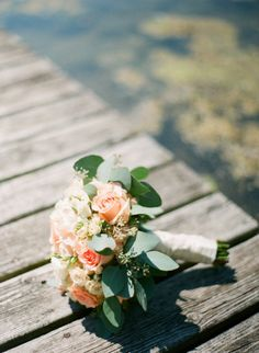Sage and Peach- like the idea of having herbs in the bouquets- also use baby's breath?