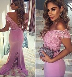Sweetheart Long Prom Dress, Pink Lace Prom Gowns,