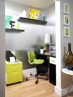 for tiffany      Closet to Home Office              This repurposed closet reveals a chic office retreat. A sleek desk and a bright filing cabinet keep the space simple and task-specific. Wall-mounted shelves create more room for fun décor, and a bright rolling chair ties the color scheme together