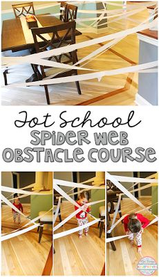 Use white streamers to create a spider web for you little ones to crawl and weave their way through. Perfect for tot school, preschool or kindergarten.