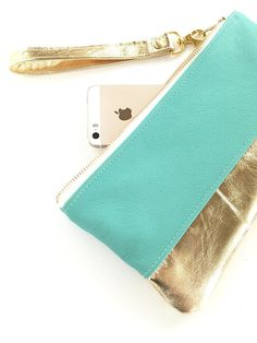 Leather clutch turquoise aqua mint and gold by babymamasewshop