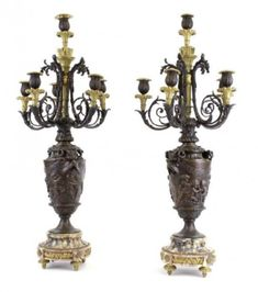 A LARGE PAIR OF 19TH C. BRONZE AND MARBLE CANDELABRA Business Checks, Antique Auctions, Candelabra, Candle Sconces, Marble, Bronze, Pairs, Ceiling Lights, Antiques