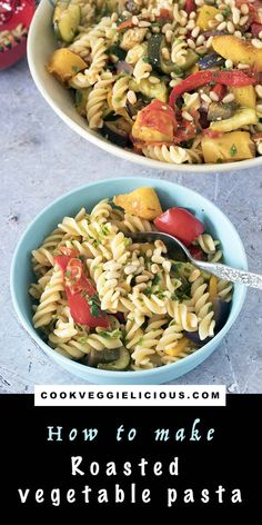 Roasted vegetable pasta is a crowd-pleasing dinner that everyone can enjoy. Made with delicious roast Mediterranean vegetables it's quick and easy to prepare. This recipe is a vegan and vegetarian classic that you're sure to love. #veganpasta #vegetablepasta #vegetarian #vegetarianpasta #roastedvegetablepasta Autumn Recipes Vegetarian, Vegetarian Meals For Kids, Healthy Meals For Kids, Vegan Recipes, Kid Recipes, Vegan Meals, Summer Recipes, Dinner Recipes, Vegetable Pasta Recipes