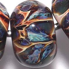 CC 8 15x9mm Blue Green Orange Red Glass Beads Lori Robbins Lampwork Boro SRA | eBay