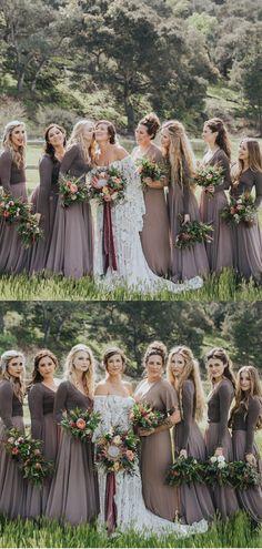 845ed33e51c A-line Dark Grey Long Sleeves Bridesmaid Dresses