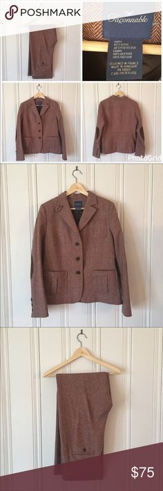 Façonnable 90s Vintage Wool Suit w Elbow Patches Façonnable 90s Vintage Brown Wool Suit with hints of Pink and Brown Elbow Patches. Size 12.  Designed in France. Very high quality suit in excellent condition. New Façonnable suits retail for over $1,000. Goes well with Ann Taylor Lace top in separate listing.  Make me an offer 😉 Vintage Jackets & Coats Blazers
