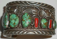 H HARVEY STERLING SILVER CUFF BRACELET WITH SPIDERWEB TURQUOISE AND CORAL NAVAJO