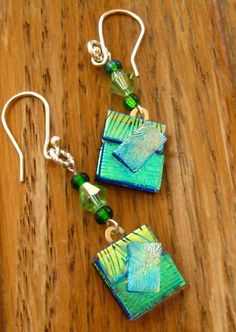 Your place to buy and sell all things handmade Dichroic Glass Jewelry, Fused Glass Art, Glass Earrings, Glass Pendants, Drop Earrings, Golden Pattern, Green Goddess, My Glass, Making Ideas