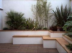 In small spaces less is definitely more - yet this clever design adds height through the stepped seating & raised beds, unity through repetition of shapes & fabulous interest through the use of plants with different shapes, forms & textures. Again... integrated seating saves space.