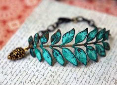 Verdigris Leaf Bracelet - Turquoise Patina on Antiqued Brass Leaf Stamping - Pine Cone Charm - Rustic Fall Fashion