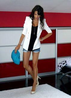 #white #blazer with #jean shorts!