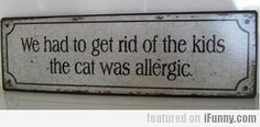 We Had To Get Rid Of The Kids The Cat Was Allergic