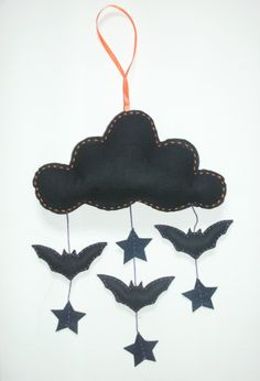 Halloween Felt Bat Star Mobile - Ornament - Garland - Spooky Home Decor. £10.00, via Etsy.