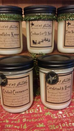 Great scents for the holidays - 1803 Candles... Soy, clean burning! Great for gifts!