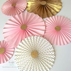 Pink and Gold Glitter || Gold Rosette Backdrop || Pink and Gold Birthday || Paper Fans  || Candy Buffet Decor ||Pink and Gold Paper Rosettes