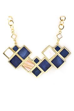 Navy Mother of Pearl Litta Necklace.