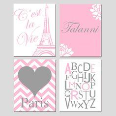 Set of Four 8x10 Prints - Girl Wall Art - Cest La Vie Eiffel Tower, Alphabet, Chevron Paris Heart, Custom Floral Name - Choose Your Colors. $65.00, via Etsy.