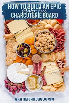 The most EPIC Charcuterie Board - but make it gluten free! All the tips, tricks, and ideas. you need to make the most amazing, crowd pleasing Charcuterie Board for your next event. This covers what kind of cheese you should include, what is charcuterie, what to include as accompaniments, and the best gluten free crackers to add to your meat and cheese board. Get ideas for different holiday themed charcuterie boards and more! Learn how to make a charcuterie board on whattheforkfoodblog.com