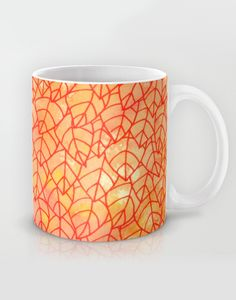 """Autumn foliage"" Mug by Savousepate on Society6 #mug #pattern #tangle #leaf #leaves #foliage #nature #autumn #fall #yellow #orange #red"