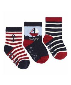 Navy & Red Stripe Sailboat Socks Set by JoJo Maman Bébé #zulily #zulilyfinds