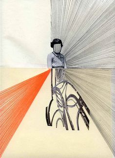 "April Gertler: up above it all, Found photo, found paper, found magazine clipping, orange thread, and graphite, 23.5 x 32 cm or 9.5"" x 11.5"" Graphite, Collage, Magazine, Orange, Paper, Photography, Art, Graffiti, Kunst"