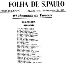 Aprovados Vestibular 1988 da Faculdade de Odontologia de Araçatuba - 2ª Chamada. Entre seus aprovados, o Prof. Cláudio Aparecido Casatti