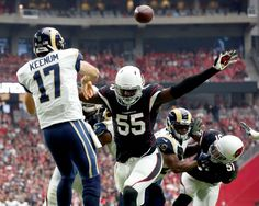 Rams vs. Cardinals Updated October 2, 2016:  17-13, Rams  -    Los Angeles Rams quarterback Case Keenum (17) throws under pressure from Arizona Cardinals outside linebacker Chandler Jones (55) during the first half of an NFL football game, Sunday, Oct. 2, 2016, in Glendale, Ariz.