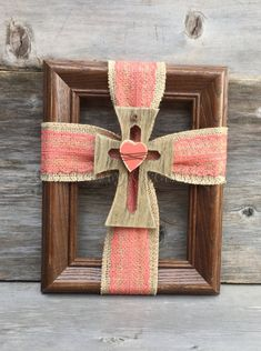 Your place to buy and sell all things handmade Burlap Flowers, Burlap Ribbon, Paper Flowers, Lace Ribbon, Arts And Crafts Projects, Wood Crafts, Diy Crafts, Crosses Decor, Wood Crosses