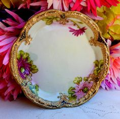 Beautiful Early Nippon Porcelain Hand Painted Bowl or Tray ~ Gold Gilt ~ Beading
